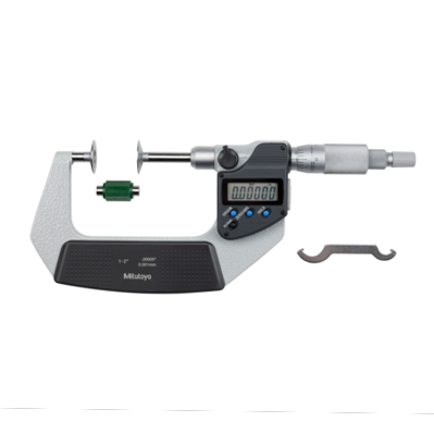 """Mitutoyo 369-351-30 Digimatic Non-Rotating Spindle Disc Micrometer 25-50mm (1-2"""") SPC Data Output"""